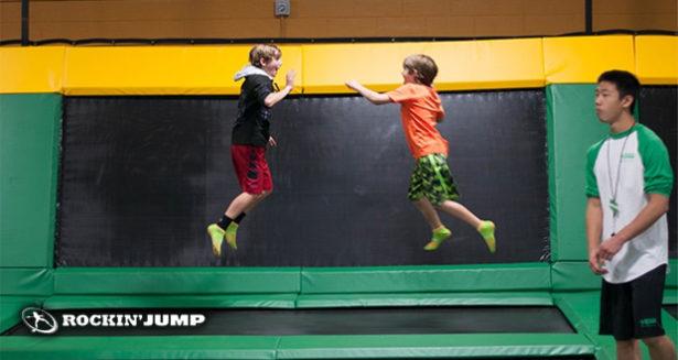 Kids jumping on trampoline at Rockin Jump