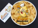 Roni Macaroni Logo: A cartoon macaroni holds up a piece of cheese on a fork.